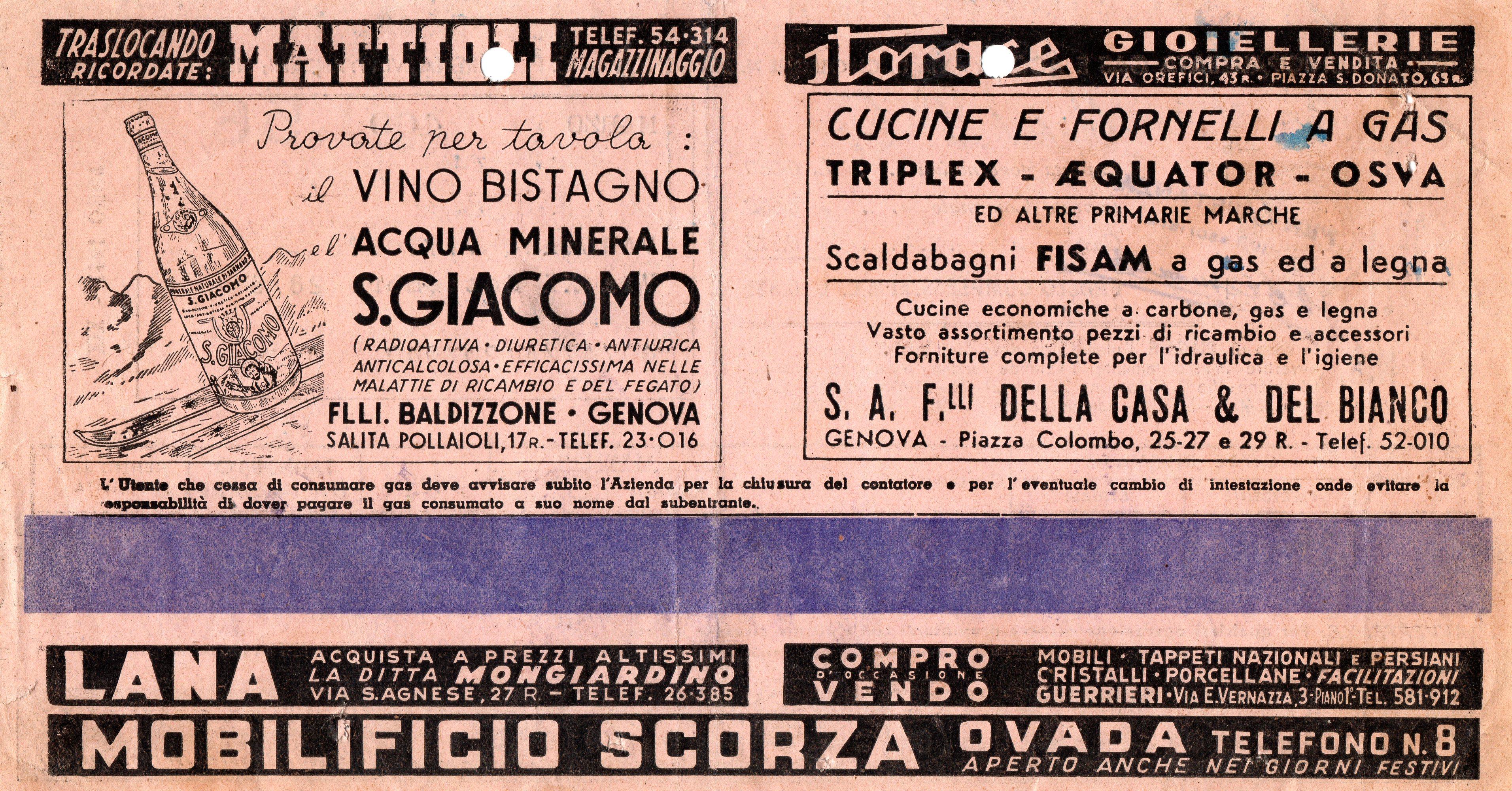 PUBBLICITA VARIE SULLA BOLLETTA DEL GAS DEL 1941