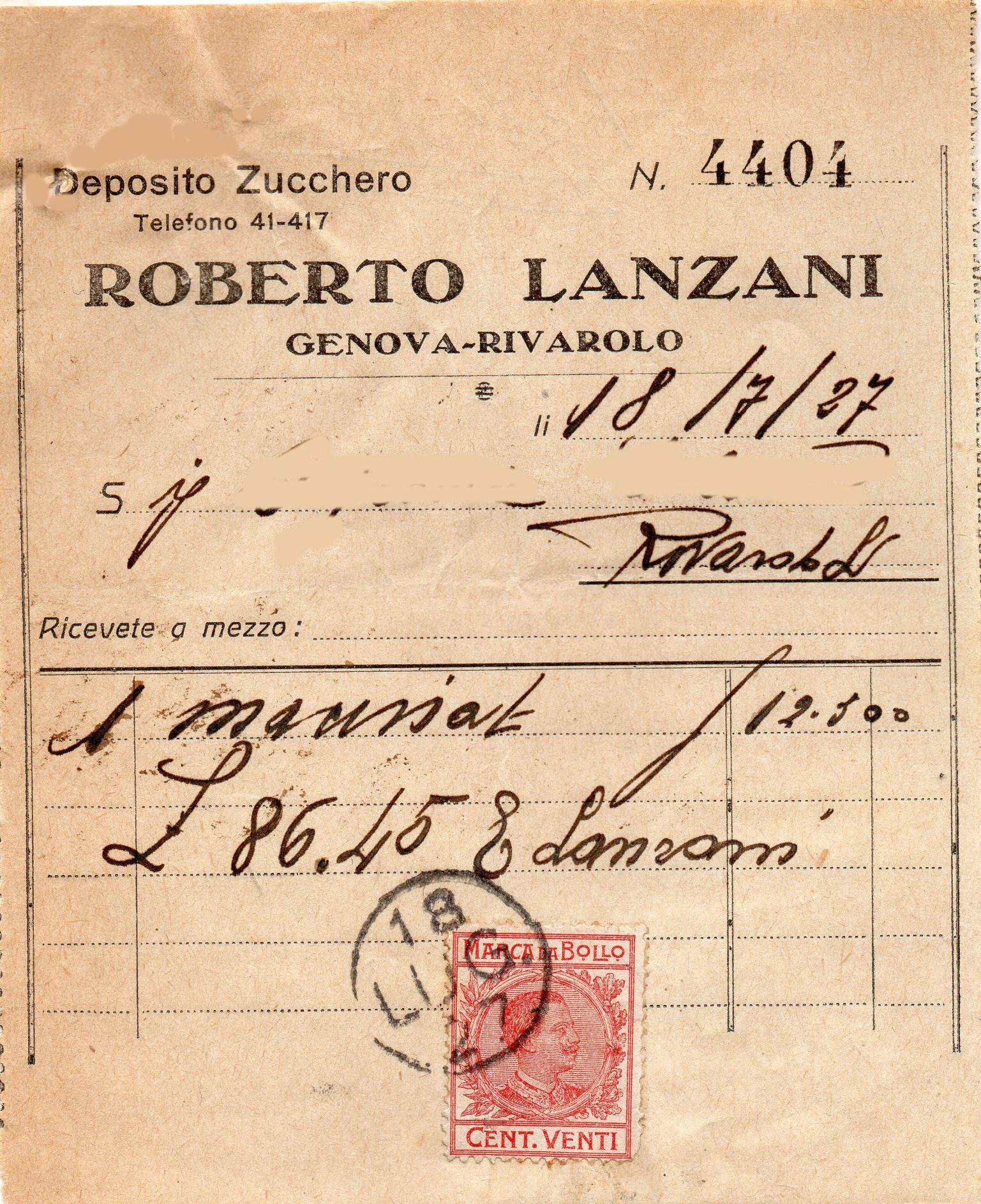 Roberto Lanzani deposito zucchero Genova Rivarolo